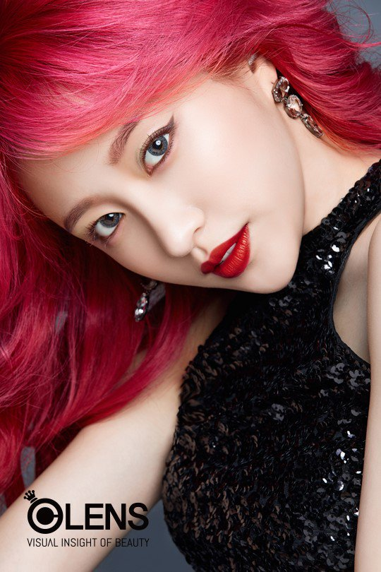 Tags: K-Pop, EXID, Hani, Red Lips, Close Up, Contact Lenses, English Text, Bare Shoulders, Black Dress, Text: Brand Name, Sleeveless, Sleeveless Dress