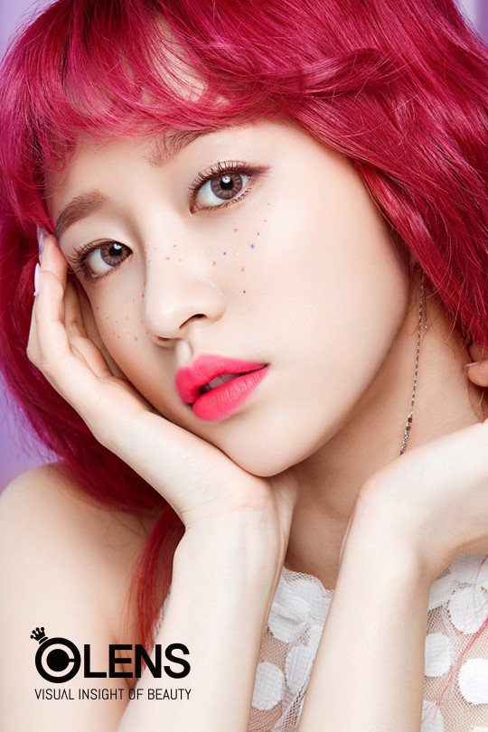 Tags: K-Pop, EXID, Hani, Freckles, English Text, Contact Lenses, Blunt Bangs, Facial Mark, Sleeveless, Bare Shoulders, Chin In Hand, Red Hair