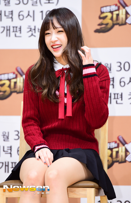 Tags: K-Pop, EXID, Hani, Pleated Skirt, Skirt, Looking Ahead, Chair, Eyes Half Closed, Red Bow, Black Skirt, Bow, Red Shirt