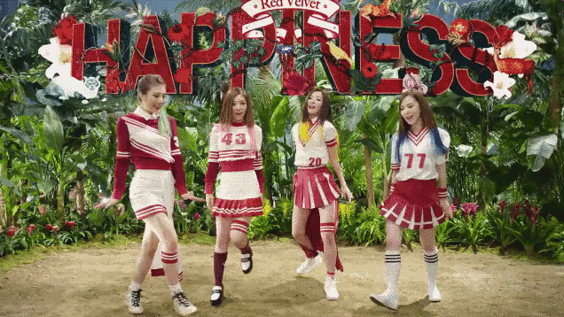 Tags: K-Pop, Red Velvet, Happiness (Song), Joy, Wendy, Kang Seul-gi, Irene, Red Hair, Pink Hair, English Text, White Footwear, Skirt
