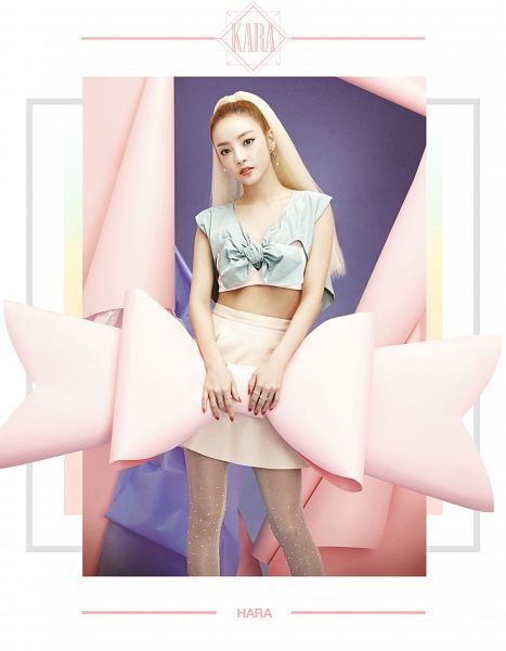 Tags: K-Pop, KARA, Hara Goo, Text: Artist Name, Bow, Multi-colored Hair, Pink Bow, Skirt, Green Shirt, Pink Skirt, Android/iPhone Wallpaper, In Love