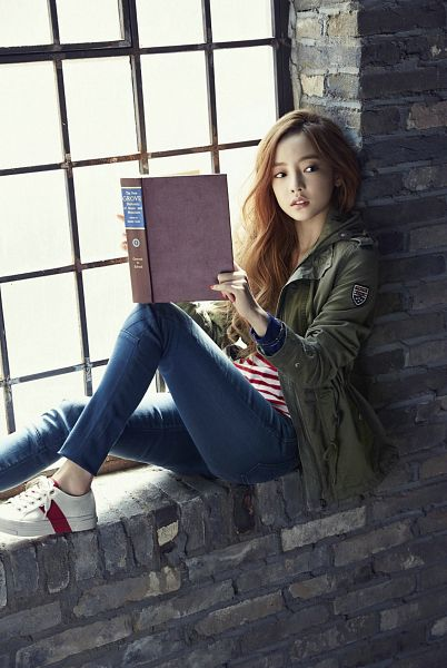Tags: K-Pop, KARA, Hara Goo, Striped Shirt, Looking Away, White Footwear, Shoes, Jeans, Green Outerwear, Sneakers, Reading, High Cut