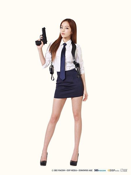 Tags: K-Pop, KARA, Hara Goo, Tie, Gun, Skirt, Uniform, High Heels, No Background