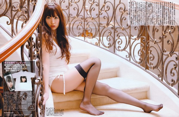 Tags: J-Pop, AKB48, Haruna Kojima, Lingerie, Korean Text, Sitting On Stairs, Black Legwear, Wavy Hair, Suggestive, Shorts, Stairs, Thigh Highs