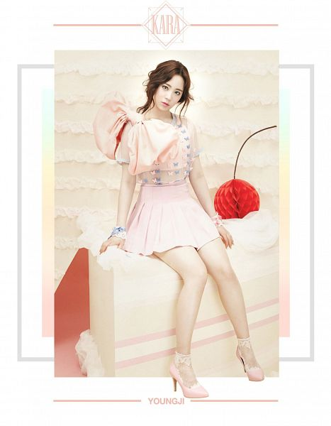 Tags: K-Pop, KARA, Heo Youngji, Pink Footwear, Pink Outfit, Bow, High Heels, Cherry, Pink Bow, Sweets, Pink Dress, Text: Artist Name