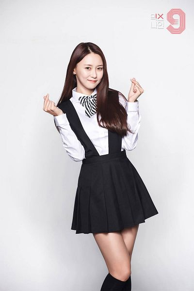 Tags: Television Show, K-Pop, Real Girls Project, Heo Youngjoo, Heart Gesture, Skirt, Black Legwear, Black Skirt, MIXNINE