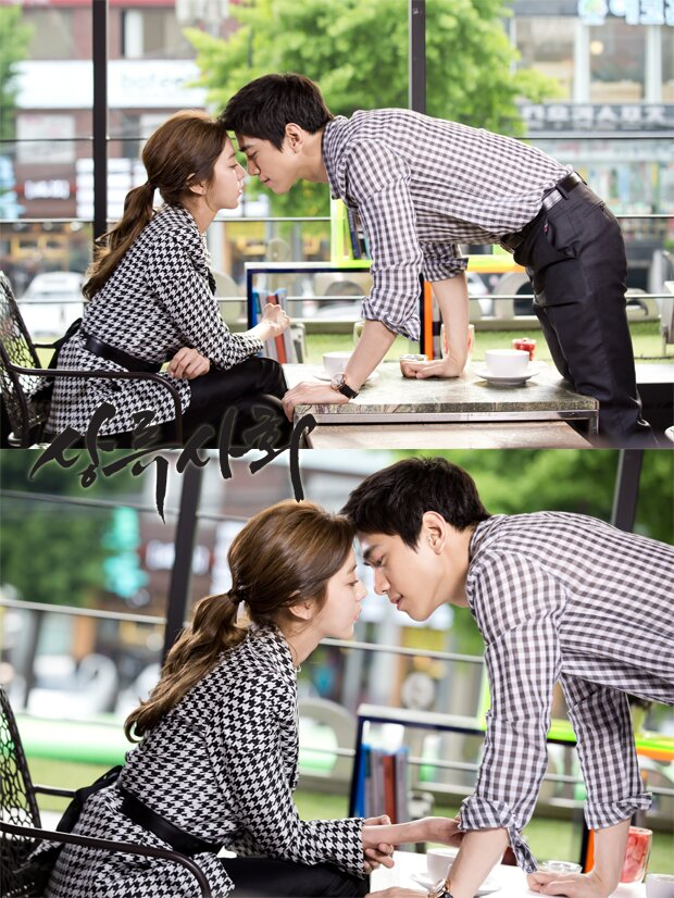 Tags: K-Drama, K-Pop, After School, Uee, Sung Joon, Checkered, Side View, Wristwatch, Table, Korean Text, Hair Up, Checkered Shirt