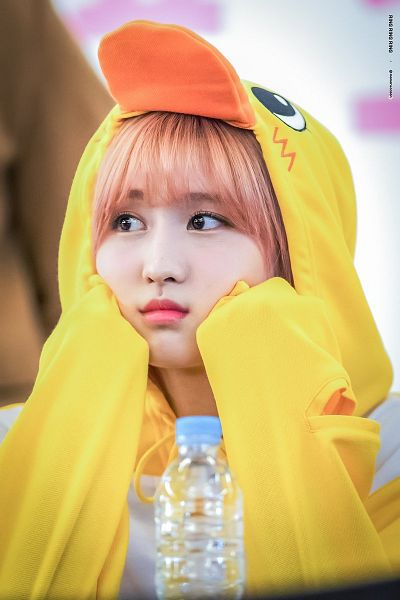Tags: K-Pop, Twice, Hirai Momo, Bottle, Hand On Cheek, Hand On Head, Onesie, Yellow Outfit, Ring Ring Ring