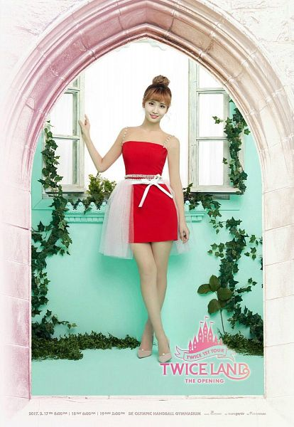 Tags: JYP Entertainment, K-Pop, Twice, Hirai Momo, White Bow, Frame, Red Outfit, Hair Up, Text: Artist Name, Red Dress, High Heels, Bow