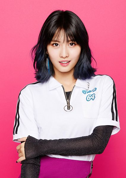 Tags: JYP Entertainment, K-Pop, Twice, One More Time, Hirai Momo, Pink Background, Crossed Arms, Pink Pants