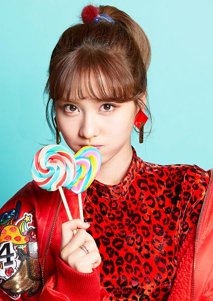 Tags: JYP Entertainment, K-Pop, Twice, Candy Pop, Hirai Momo, Hair Up, Red Outerwear, Candy, Red Shirt, Close Up, Blue Background, Blunt Bangs