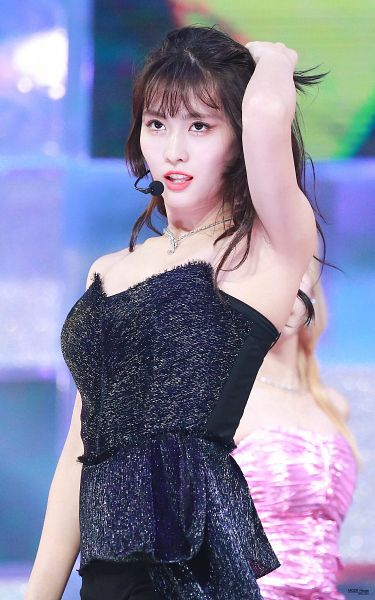 Tags: K-Pop, Twice, Hirai Momo, Hand In Hair, Wavy Hair, Bare Shoulders, Necklace, Looking Up