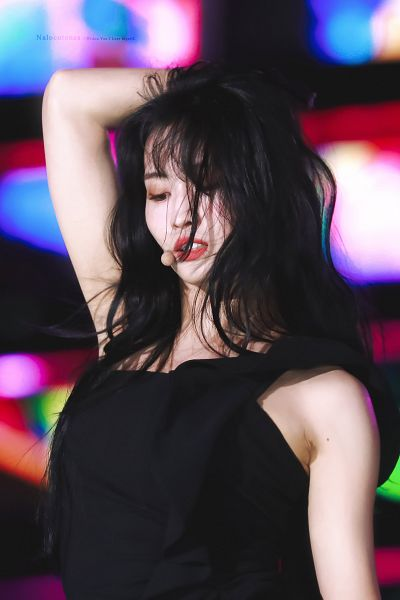 Tags: K-Pop, Twice, Hirai Momo, One Eye Showing, Messy Hair, Black Outfit, Mole, Hand In Hair, Looking Down, Black Dress, Facial Mark, Make Up