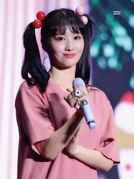 Tags: K-Pop, Twice, Hirai Momo, Pink Outfit, Pink Dress, Cosplay, Holding Object, Looking Ahead, Twin Tails