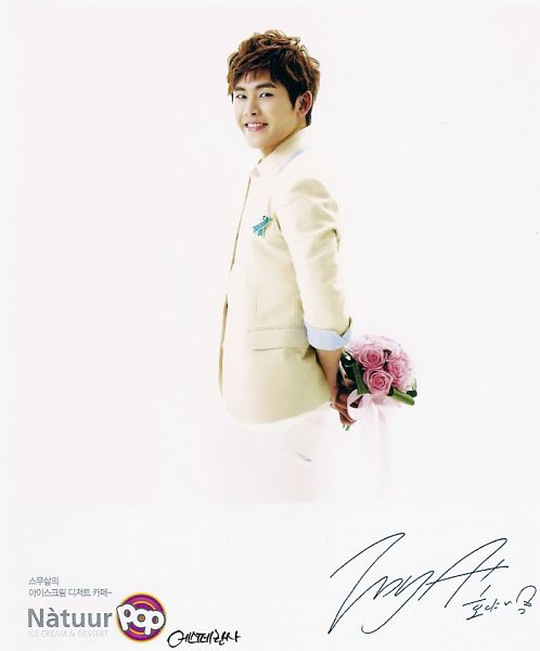 Tags: K-Pop, Infinite, Hoya, Light Background, White Jacket, White Background, Signature, Flower, Ribbon, White Outerwear, Bouquet