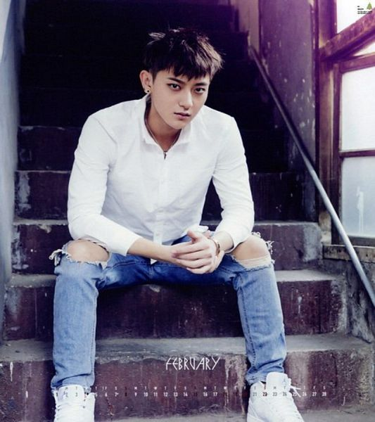 Tags: K-Pop, EXO, Huang Zi Tao, Stairs, Shoes, Sneakers, Bend Over, Text: Calendar Date, Sitting On Stairs, Jeans, White Footwear