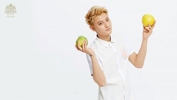 Tags: K-Pop, EXO, Huang Zi Tao, Light Background, Fruits, White Background, Orange (Fruit), Short Sleeves, Avocado, Ivy Club