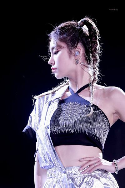 Tags: Itzy, Hwang Yeji, Looking Down, Side View, Black Background, Hand On Hip, Bare Shoulders, Black Shirt, Twin Tails, Braids, Armpit, Crop Top