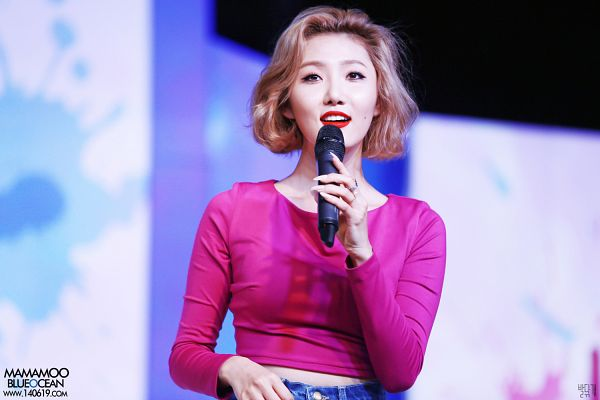 Tags: Mamamoo, Hwasa, Midriff, From Below, Jeans, Pink Shirt, Red Lips, Wallpaper