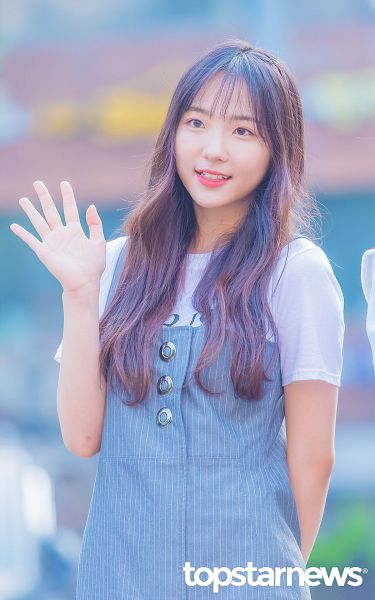 Tags: Hunus Entertainment, K-Pop, Elris, Hyeseong, Looking Ahead, Striped Shirt, Blue Dress, Wave, Blue Outfit, Arms Behind Back, Short Sleeves, Striped
