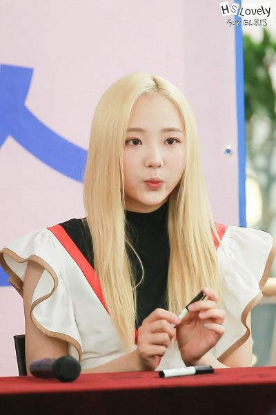 Tags: K-Pop, Elris, Hyeseong, Looking Ahead, Pouting, Holding Object, Blonde Hair, Pen, Sleeveless, Android/iPhone Wallpaper, Fansigning Event, Hunus Entertainment