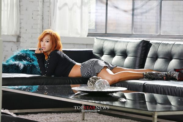 Tags: Sistar, Hyorin, Red Hair, Black Footwear, Sitting On Couch, High Heels, White Skirt, Laying Down, Checkered, Checkered Footwear, Laying On Stomach, Couch
