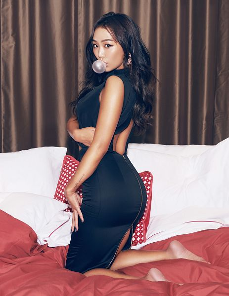 Tags: K-Pop, Sistar, Hyorin, Suggestive, Black Outfit, Black Dress, Back, Android/iPhone Wallpaper, Cosmopolitan