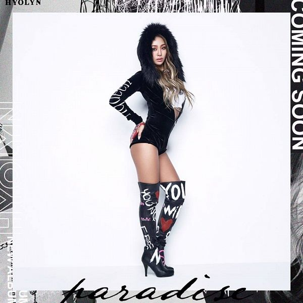 Tags: Sistar, Hyorin, Text: Artist Name, White Background, Black Outfit, Multi-colored Hair, Text: Song Title, Thigh Boots, Light Background