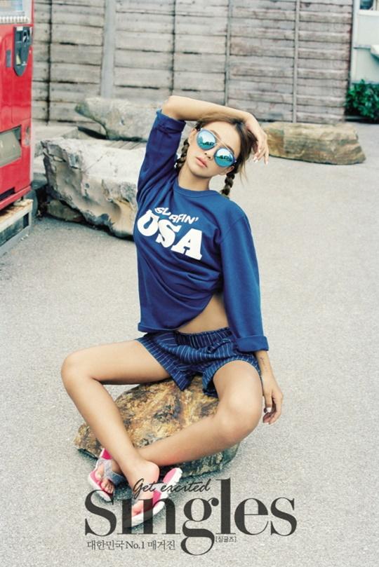 Tags: Sistar, Sistar19, Hyorin, Blue Shorts, Sunglasses, Arms Up, Blue Shirt, Shorts, Midriff, Twin Tails, Text: Magazine Name, Glasses
