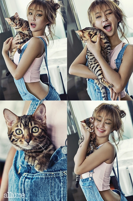 Tags: Sistar, Hyorin, Looking Away, Midriff, Eyes Closed, Hair Up, Overalls, Hug, Text: Magazine Name, Wink, Holding Close, Cat