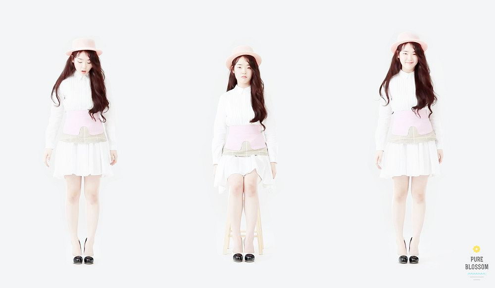 Tags: K-Pop, Oh My Girl, Hyun Seunghee, Trio, Three Girls, Light Background, White Background
