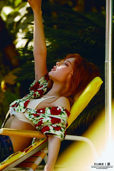 Tags: Cube Entertainment, K-Pop, 4Minute, Triple H, Hyuna, Eyes Closed, Swimsuit, Jeans, Arms Up, Text: Company Name, Red Hair, Short Sleeves