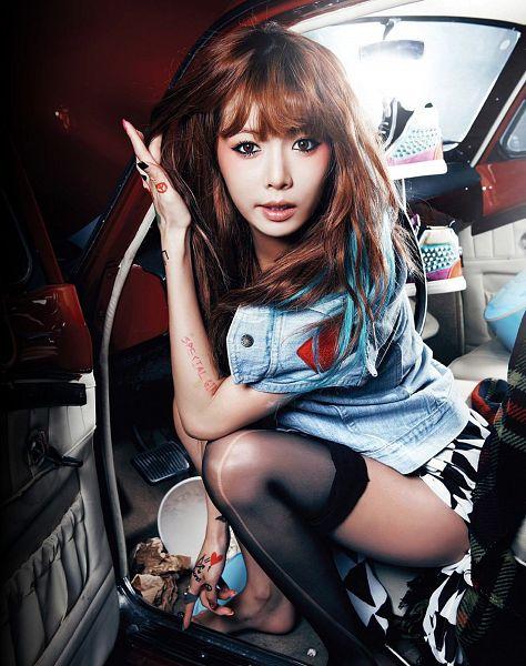 Tags: K-Pop, 4Minute, Hyuna, Thigh Highs, Black Legwear, Denim Jacket, Suggestive, Barefoot, Car, Sneakers, Shoes, White Shorts