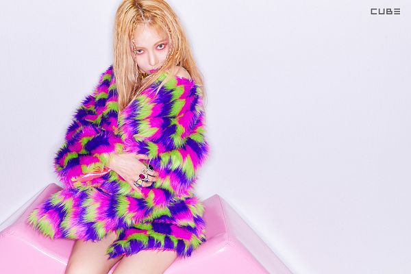 Tags: Cube Entertainment, K-Pop, Lip & Hip, Hyuna, Fur Coat, Striped, Light Background, Text: Company Name, Coat, Make Up, Multi-colored Jacket, White Background