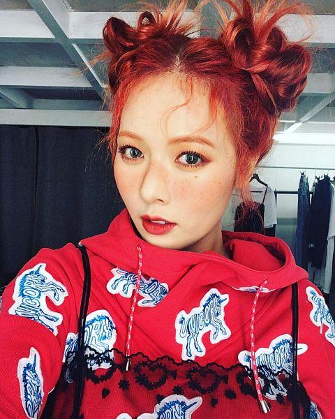 Tags: Cube Entertainment, K-Pop, Hyuna, Twin Buns, Facial Mark, Red Hair, Red Lips, Hair Buns, Red Shirt, Hair Ornament, Hair Up, Bow
