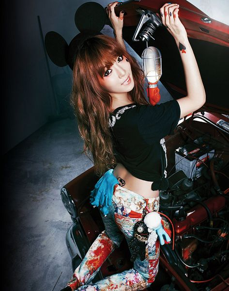 Tags: K-Pop, 4Minute, Hyuna, Animal Ears, Bare Back, Back, Kneeling, White Pants, Car, Melting