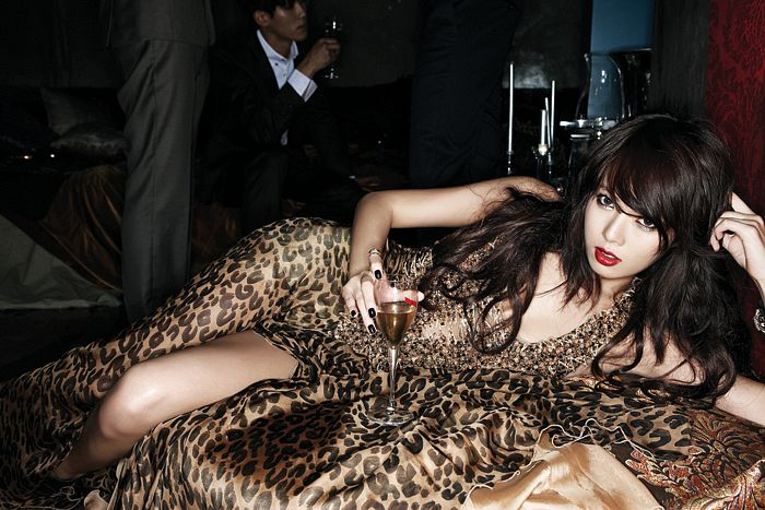 Tags: 4Minute, Hyuna, Leopard Print, Laying On Side, Laying Down, Dress Slit, Red Lips, Wine, Hand In Hair, Brown Outfit, Alcohol, Brown Dress