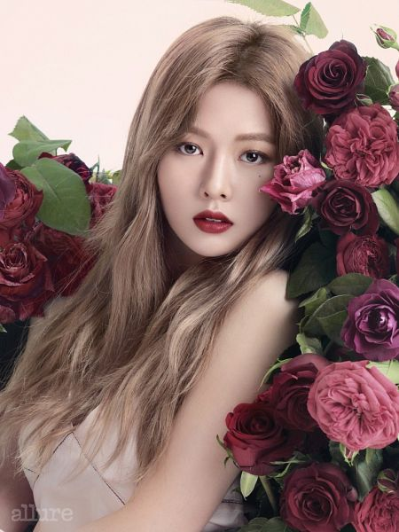 Tags: K-Pop, 4Minute, Hyuna, Red Flower, Mole, Facial Mark, Red Lips, Flower, Rose (flower), Magazine Scan, Allure