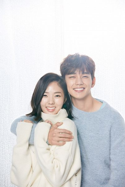 Tags: K-Drama, Chae Soo-bin, Yoo Seung-ho, Light Background, Couple, White Background, Hug From Behind, Medium Hair, Duo, Hug, Blue Shirt, I'm Not a Robot