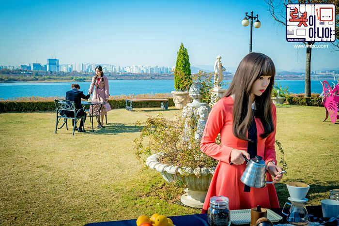 Tags: K-Drama, Yoo Seung-ho, Hwang Seung-eon, Chae Soo-bin, Chair, Water, Teapot, Trio, Grass, Table, Korean Text, Bush