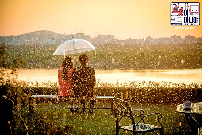 Tags: K-Drama, Chae Soo-bin, Yoo Seung-ho, Pink Dress, Cup, Umbrella, Sitting On Bench, Chair, Bench, River, Duo, Black Outerwear
