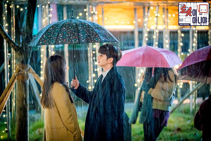 Tags: K-Drama, Chae Soo-bin, Yoo Seung-ho, Black Outerwear, Umbrella, Rain, Duo, Tree, Plant, Brown Outerwear, Water, I'm Not a Robot