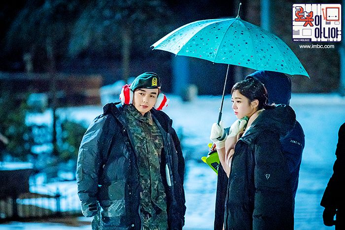 Tags: K-Drama, Chae Soo-bin, Yoo Seung-ho, Gloves, Duo, Hat, Serious, Headdress, Text: Series Name, Night, Coat, Korean Text