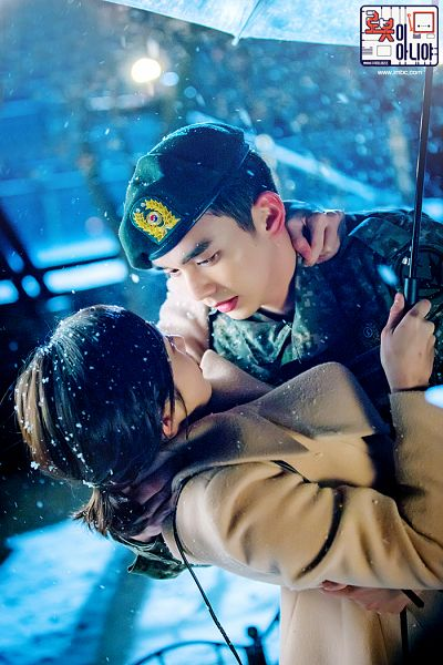 Tags: K-Drama, Chae Soo-bin, Yoo Seung-ho, Snow, Korean Text, Looking At Another, Hug, Holding Close, Text: Series Name, Ponytail, Couple, Uniform