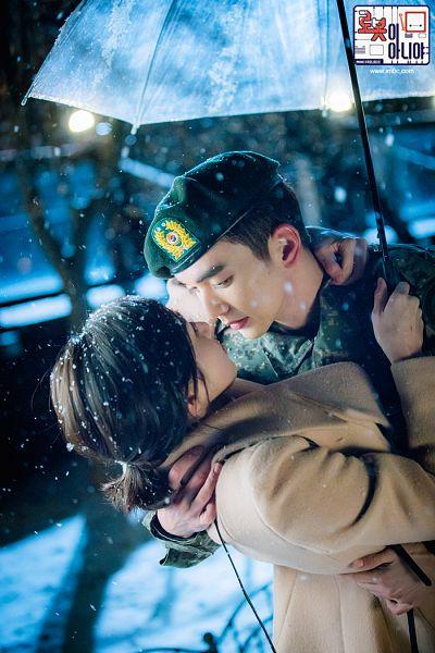 Tags: K-Drama, Yoo Seung-ho, Chae Soo-bin, Ponytail, Uniform, Umbrella, Medium Hair, Couple, Hat, Duo, Brown Outerwear, Coat