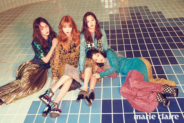 Tags: K-Pop, I.O.I, Kim Sejeong, Kang Mina, Jung Chaeyeon, Kim Chung-ha, Yellow Skirt, Lap Pillow, Quartet, Four Girls, Magazine Scan, Marie Claire