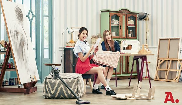 Tags: K-Pop, I.O.I, Yu Yeon-jung, Im Nayoung, Ponytail, Easel, Duo, Sewing Machine, Sitting On Chair, Canvas, Skirt, Door