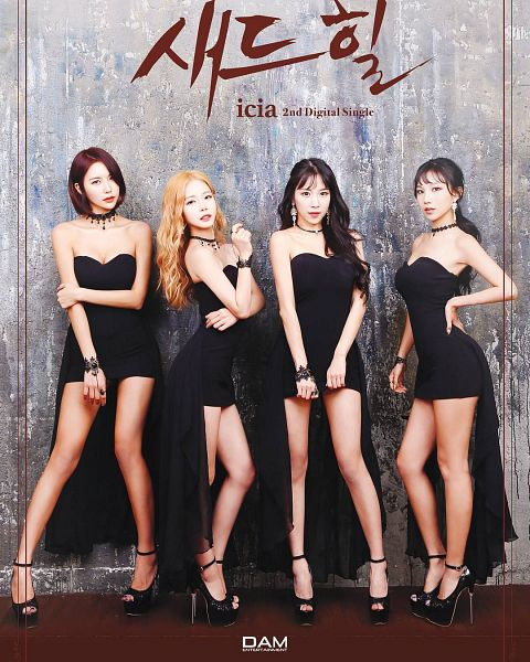 Tags: K-Pop, ICIA, Nayoon, Lee Bo-ra, Lee Ae, Swan, Black Footwear, English Text, Text: Artist Name, Red Hair, Korean Text, Text: Song Title