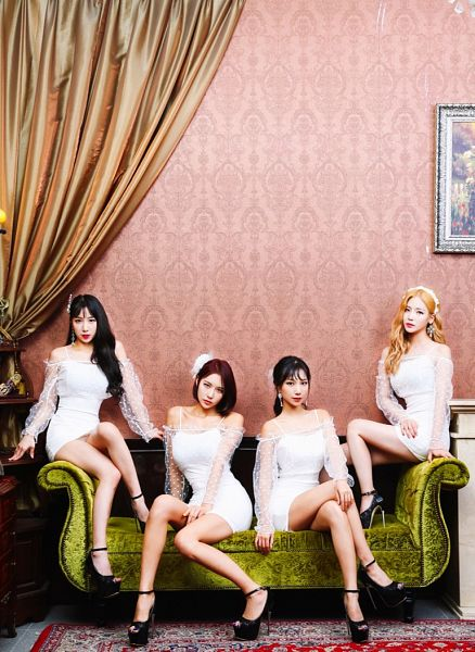 Tags: K-Pop, ICIA, Nayoon, Lee Bo-ra, Lee Ae, Swan, Curtain, White Dress, Couch, White Outfit, Red Hair, Quartet