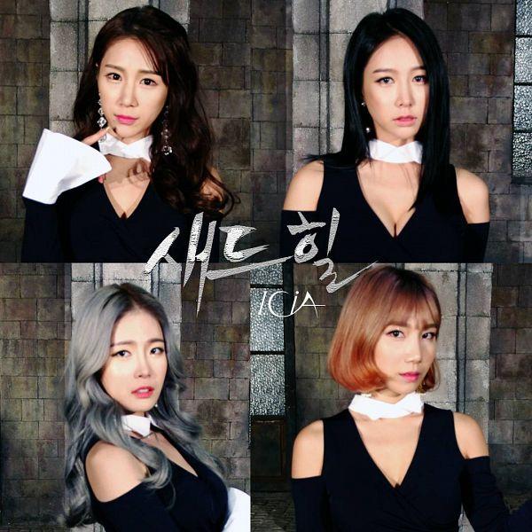 Tags: K-Pop, ICIA, Lee Ae, Coca, Nayoon, Lee Bo-ra, Window, Four Girls, Suggestive, Text: Artist Name, Cleavage, Gray Hair